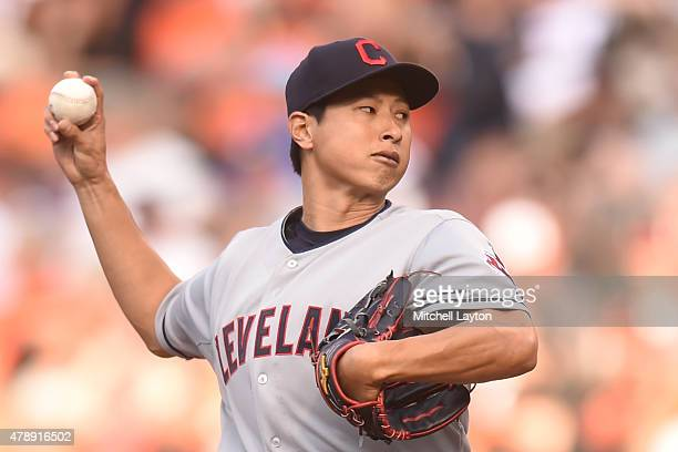 Toru Murata of the Cleveland Indians pitches in his major league debut in the first inning during game two of a baseball game against the Baltimore...