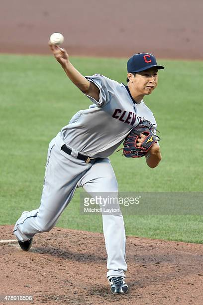 Toru Murata of the Cleveland Indians pitches in his major league debut in the third inning during game two of a baseball game against the Baltimore...
