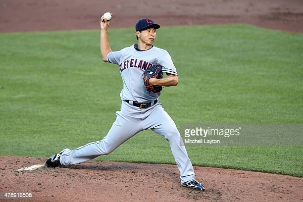 Toru Murata of the Cleveland Indians pitches in his major league debut in the second inning during game two of a baseball game against the Baltimore...