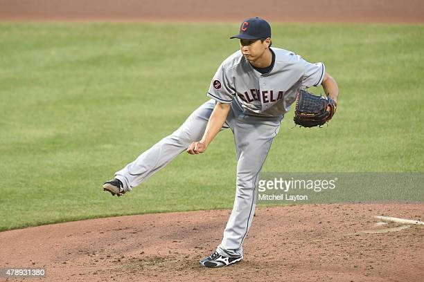 Toru Murata of the Cleveland Indians pitches in the forth inning in his major league debut in the first inning during game two of a baseball game...