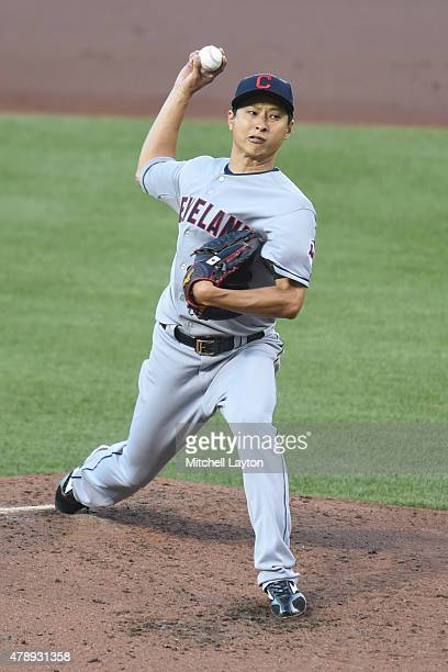 Toru Murata of the Cleveland Indians pitches in the third inning in his major league debut in the first inning during game two of a baseball game...