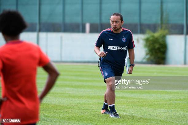 Toru Ota of PAris Saint Germain during a training session of Paris Saint Germain at Bougival on July 25 2017 in Paris France