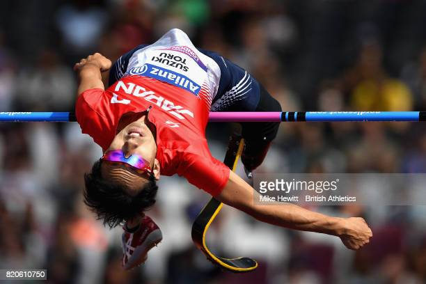 Toru Suzuki of Japan competes in the Mens high jump T44 final during day nine of the IPC World ParaAthletics Championships 2017 at London Stadium on...