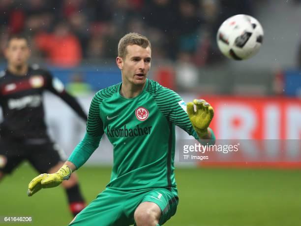 Torwart Lukas Hradecky of Eintracht Frankfurt looks on during the Bundesliga match between Bayer 04 Leverkusen and Eintracht Frankfurt at BayArena on...