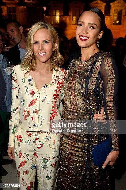 Tory Burch and actress Jessica Alba attend the Tory Burch Paris Flagship store opening after party at on July 7 2015 in Paris France