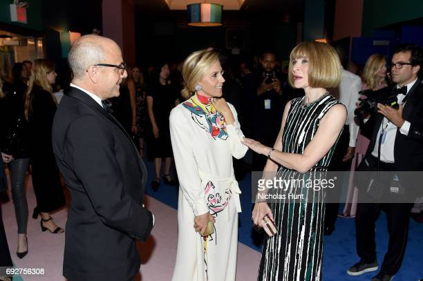 Tory Burch and Anna Wintour attend the 2017 CFDA Fashion Awards Cocktail Hour at Hammerstein Ballroom on June 5 2017 in New York City