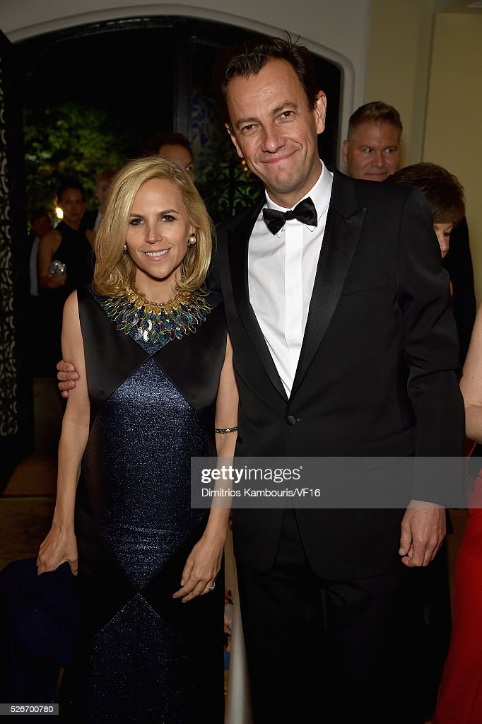 Tory Burch and her fianc�� Pierre-Yves attend the Bloomberg & Vanity Fair cocktail reception following the 2015 WHCA Dinner at the residence of the French Ambassador on April 30, 2016 in Washington, DC.