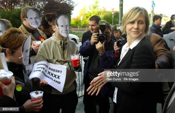 Tory byelection candidate for the Scottish Parliament Dr Kate Pickering is ambushed by local Labour Party supporters wearing Tory Leader William...