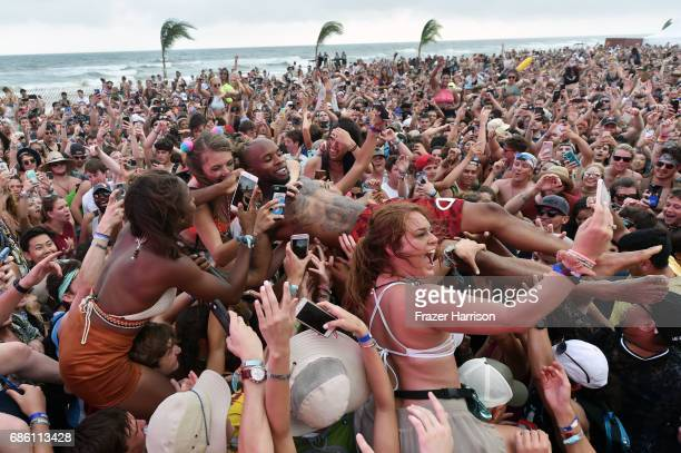 Tory Lanez surfs the crowd at the Surf Stage during 2017 Hangout Music Festival on May 20 2017 in Gulf Shores Alabama