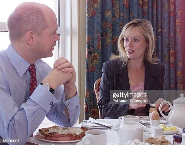 Tory leader William Hague and his wife Ffion enjoy a working breakfast at the Imperial Hotel in Blackpool on the third day of the Conservative party...