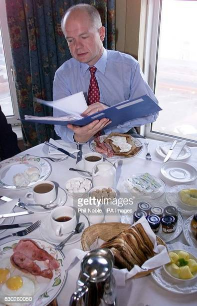 Tory leader William Hague enjoys a working breakfast at the Imperial Hotel in Blackpool on the third day of the Conservative Party conference