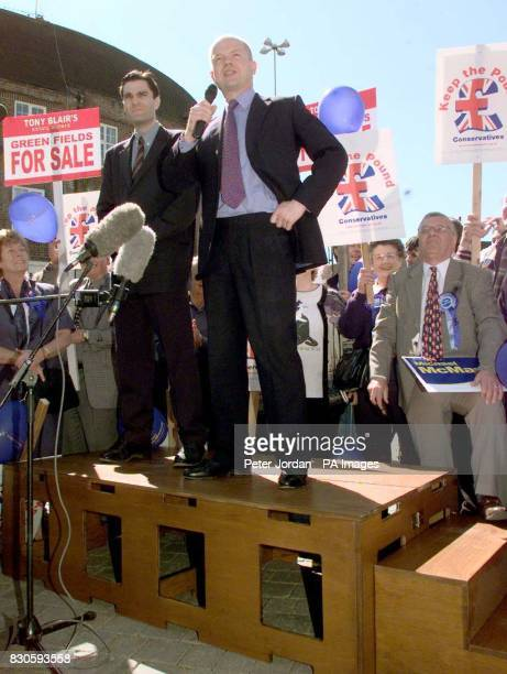 Tory leader William Hague launching the Conservative General Election campaign with a soapbox address to supporters in Watford town centre...