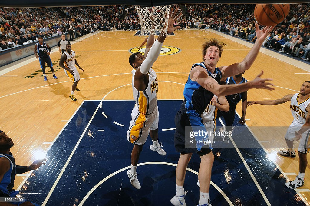 Tory Murphy #6 of the Dallas Mavericks drives to the basket against the Indiana Pacers on November 16, 2012 at Bankers Life Fieldhouse in Indianapolis, Indiana.