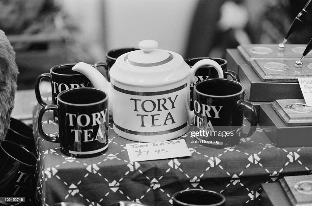 A 'Tory Tea' teapot and mugs on sale at the Conservative Party Conference in Brighton 12th October 1988