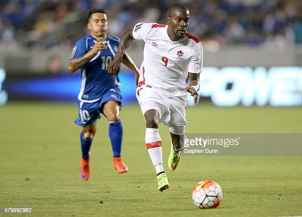 Tosaint Ricketts of Canada races for the ball ahead of Jaime Alas of El Salvador in their CONCACAF Gold Cup Group B match at StubHub Center on July 8...