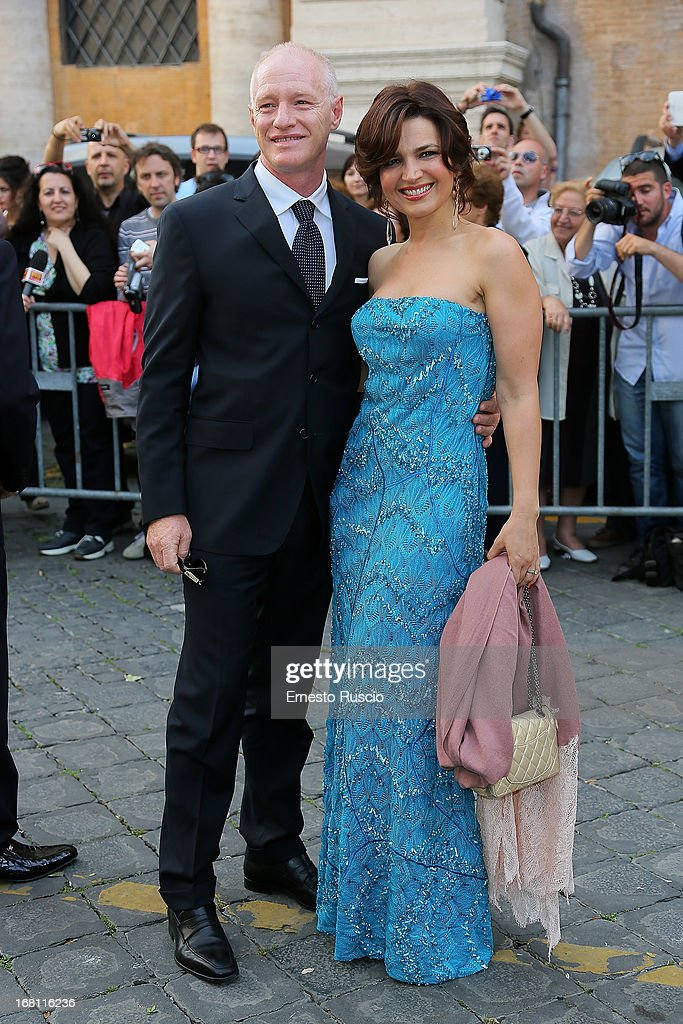 Tosca D'Aquino and guest attend the Valeria Marini And Giovanni Cottone wedding at Ara Coeli on May 5, 2013 in Rome, Italy.