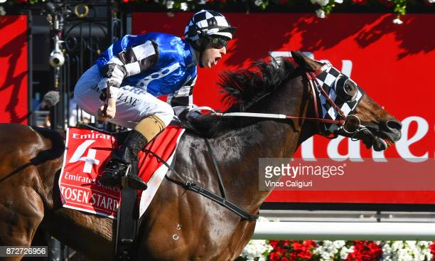Tosen Stardom ridden by Damian Lane wins the Emirates Stakes during 2017 Stakes Day at Flemington Racecourse on November 11 2017 in Melbourne...