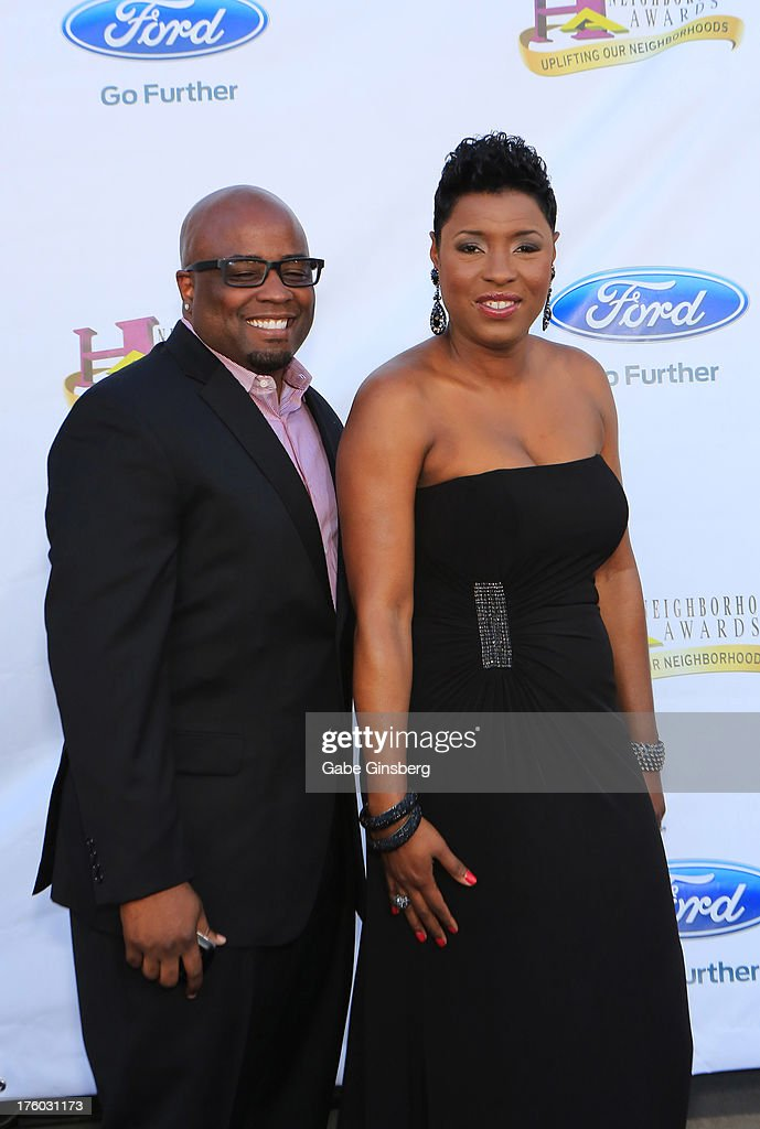 Tosh Ferrell (L) and his wife, radio host Carla Ferrell, arrive at the 11th annual Ford Neighborhood Awards at the MGM Grand Garden Arena on August 10, 2013 in Las Vegas, Nevada.