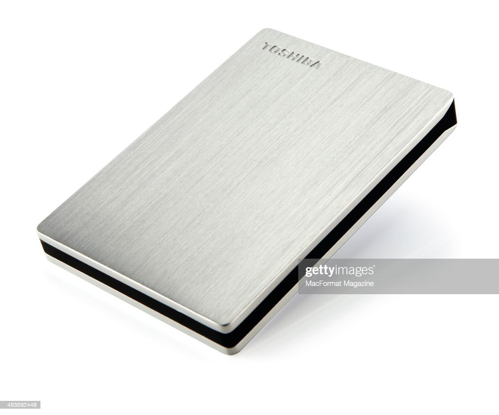A Toshiba Canvio Slim II external hard drive photographed on a white background, taken on September 5, 2013.
