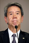 Toshiba Corp President Hisao Tanaka attends a press conference to set up a third party committee to investigate account probe at the company...