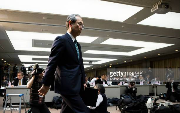 Toshiba Corp President Satoshi Tsunakawa arrives for a press conference on March 29 2017 in Tokyo Japan Toshiba announced that its US nuclear unit...