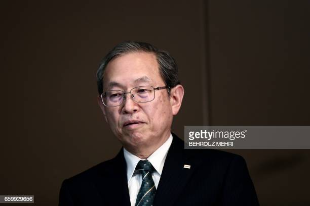 Toshiba Corp President Satoshi Tsunakawa attends a press conference at the company's headquarters in Tokyo on March 29 2017 Toshiba's losshit US...