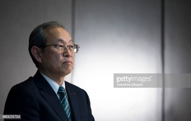 Toshiba Corp President Satoshi Tsunakawa attends a press conference on March 29 2017 in Tokyo Japan Toshiba announced that its US nuclear unit...