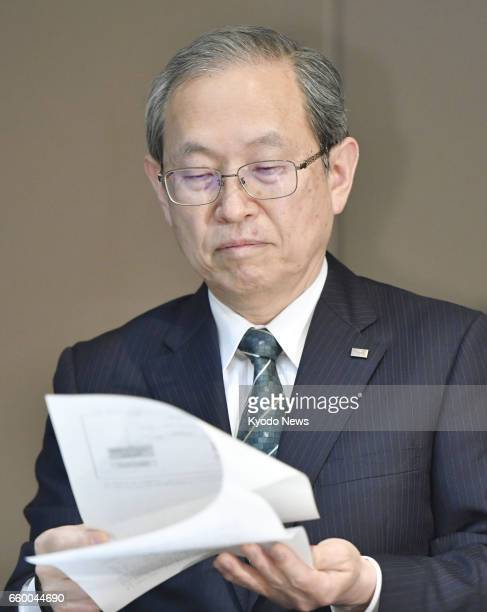 Toshiba Corp President Satoshi Tsunakawa attends a press conference in Tokyo on March 29 as the company announced its troubled US nuclear unit...