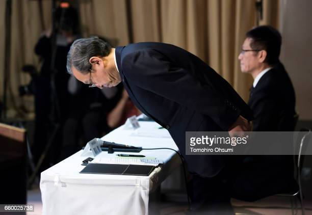 Toshiba Corp President Satoshi Tsunakawa bows as he arrives for a press conference on March 29 2017 in Tokyo Japan Toshiba announced that its US...