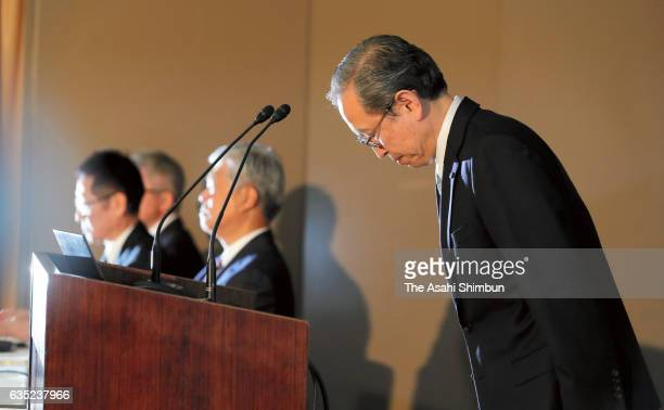 Toshiba Corp President Satoshi Tsunakawa bows at the start of a press conference at the company headquarters on February 14 2017 in Tokyo Japan...