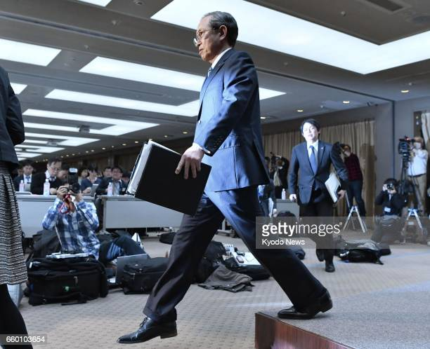 Toshiba Corp President Satoshi Tsunakawa completes a press conference in Tokyo on March 29 when the company announced its troubled US nuclear unit...