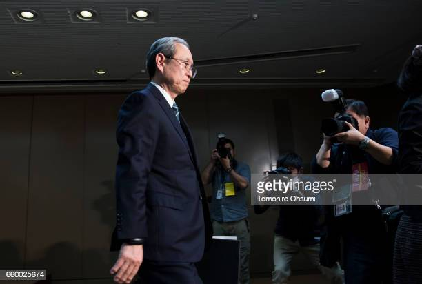 Toshiba Corp President Satoshi Tsunakawa leaves a press conference on March 29 2017 in Tokyo Japan Toshiba announced that its US nuclear unit...