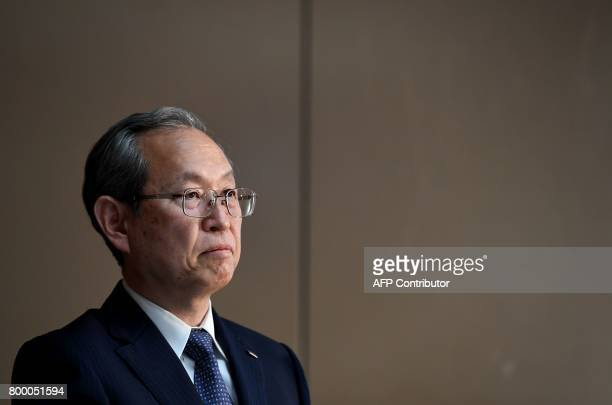 Toshiba corp president Satoshi Tsunakawa listens to a question during a press conference at the company's headquarters in Tokyo on June 23 2017...