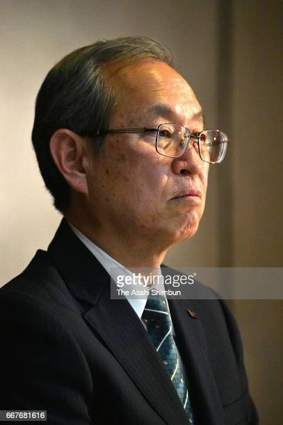 Toshiba Corp President Satoshi Tsunakawa speaks during a press conference on their US nuclear unit Westinghouse filing for bankruptcy at the company...