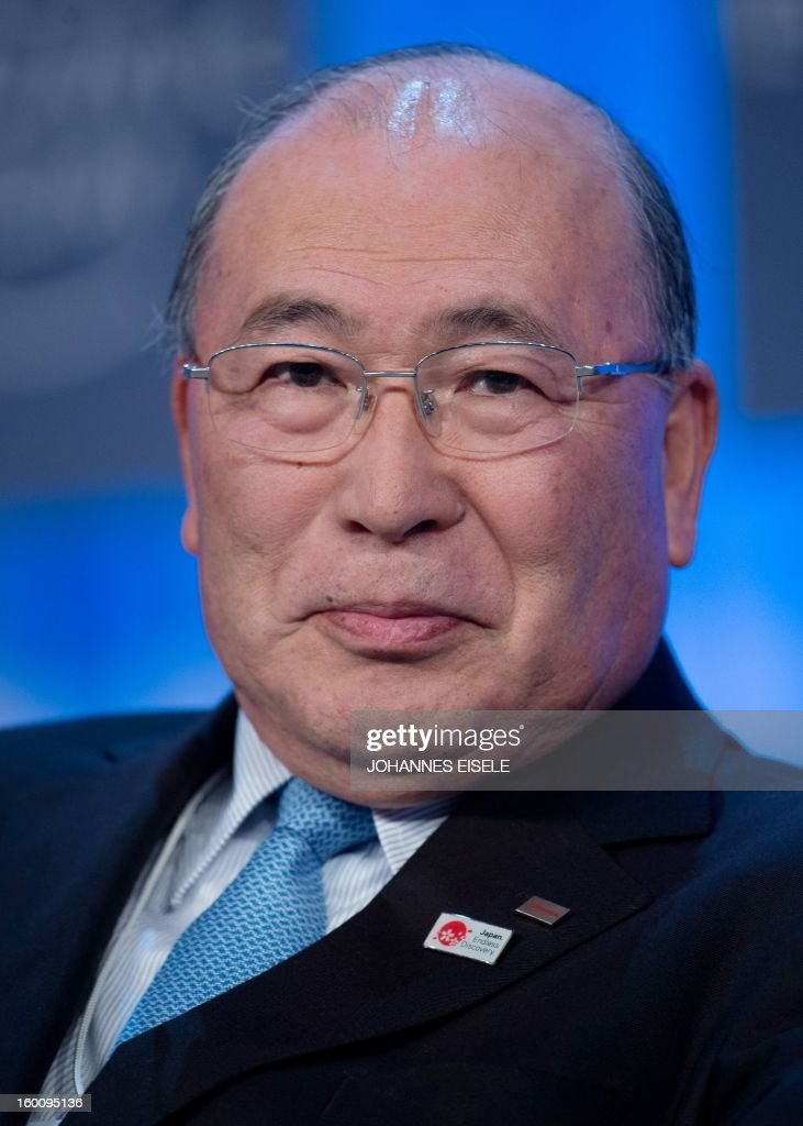 Toshiba Corporation Chairman, <a gi-track='captionPersonalityLinkClicked' href=/galleries/search?phrase=Atsutoshi+Nishida&family=editorial&specificpeople=640193 ng-click='$event.stopPropagation()'>Atsutoshi Nishida</a> of Japan attends a session of the World Economic Forum Annual Meeting 2013 on January 26, 2013 at the Swiss resort of Davos. The World Economic Forum (WEF) will take place from January 23 to 27.