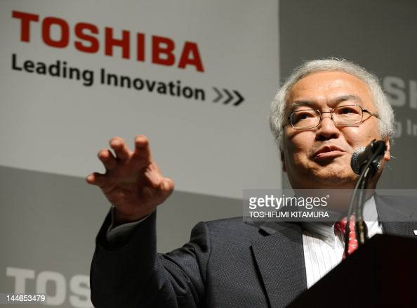 Toshiba Corporation President CEO Norio Sasaki delivers his company's management policy on the fisical year of 2012 in Tokyo on May 17 2012 Toshiba...