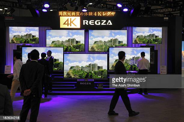 Toshiba Corp's 4K liquid crystal display televisions 'Regza' are displayed during the press preview of the CEATEC Japan 2013 at Makuhari Messe on...
