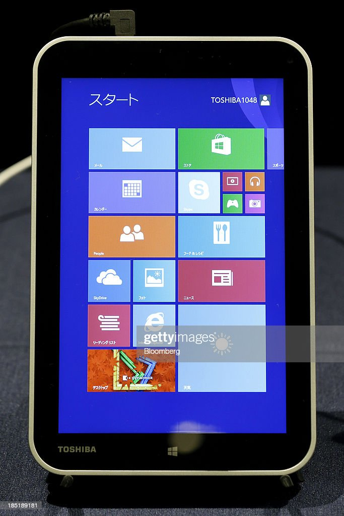 Toshiba Corp.'s 8-inch tablet computer, running Microsoft Corp.'s Windows 8.1 operating system, is displayed as a reference exhibit during a launch event for the operating system in Tokyo, Japan, on Friday, Oct. 18, 2013. Microsoft Chief Executive Officer Steve Ballmer, who will be retiring within a year, said the company is still working to make sure that the personal computer remains relevant as 'the device of choice.' Photographer: Kiyoshi Ota/Bloomberg via Getty Images