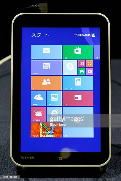 Toshiba Corp's 8inch tablet computer running Microsoft Corp's Windows 81 operating system is displayed as a reference exhibit during a launch event...