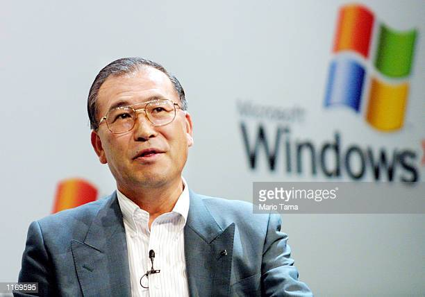Toshiba President and CEO Atsutosmi Nishida attends the product launch of the new Windows XP operating system October 25 2001 in New York City
