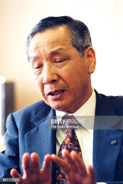 Toshiba President Fumio Sato speaks during the Asahi Shimbun interview at the company headquarters on August 4 1993 in Tokyo Japan