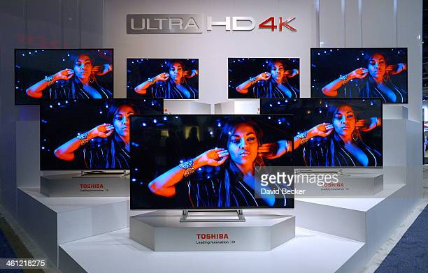 Toshiba Ultra HD 4K televisions are on display at the Toshiba booth at the 2014 International CES at the Las Vegas Convention Center on January 7...