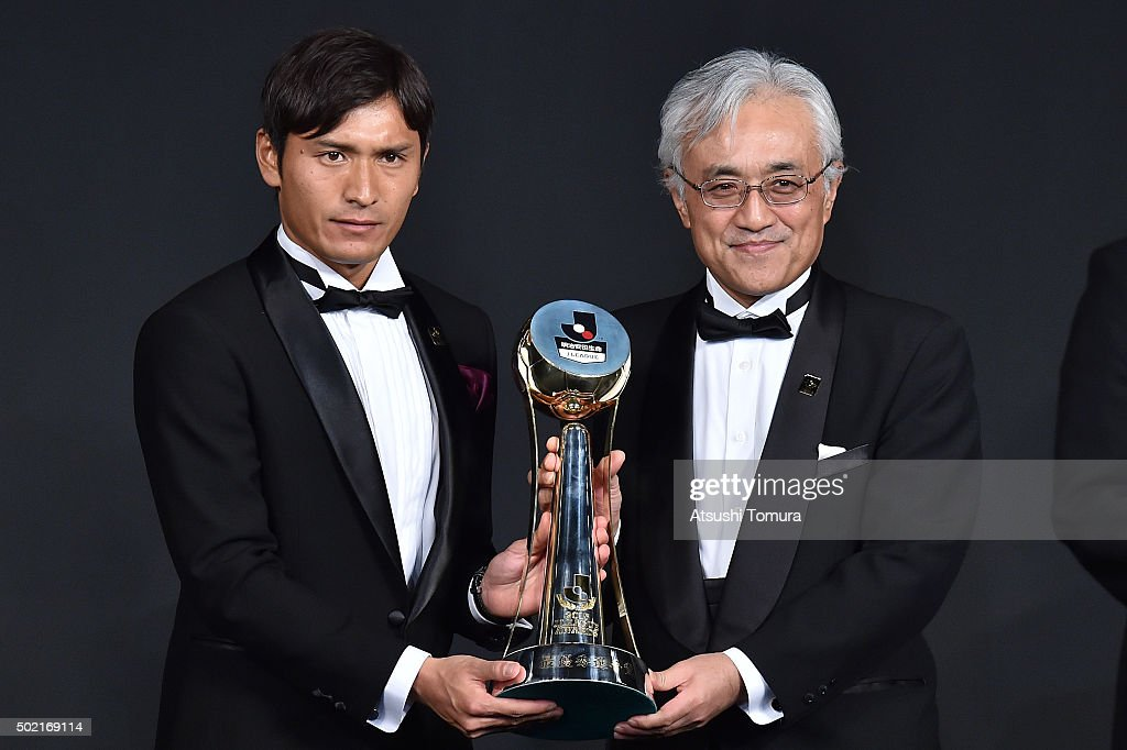 Toshihiro Aoyama of Sanfrecce Hiroshima is awarded as the most valuable player award during the J League Awards 2015 on December 21 2015 in Tokyo...