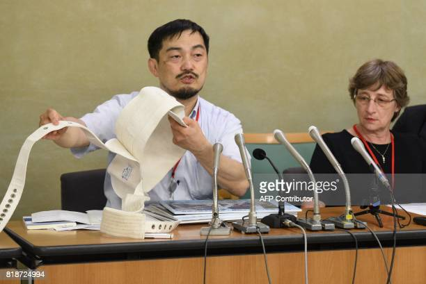 Toshio Hasegawa professor of health sciences at Kyorin University speaks during a press coference at the Ministry of Health Labor and Welfare in...