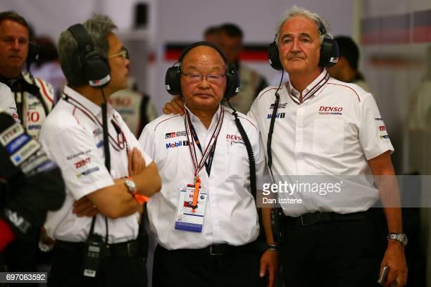 Toshio Sato President of Toyota Motorsport GmbH Koei Saga Chief Officer and Technical Director of Toyota Gazoo Racing and Hugues de Chaunac head of...