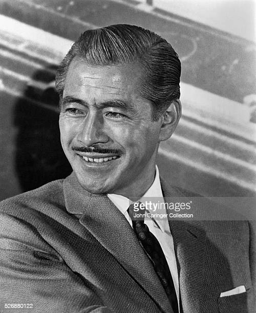 Toshiro Mifune smiles during the filming of the 1966 film Grand Prix