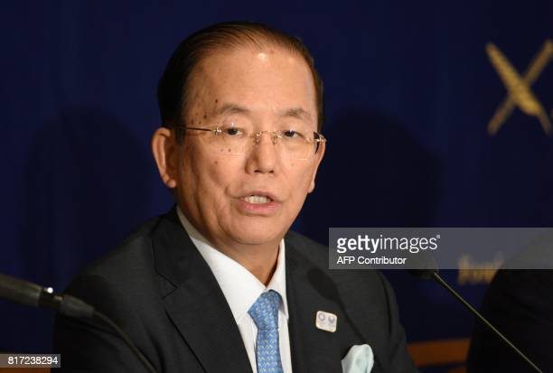 Toshiro Muto Chief Executive Officer of The Tokyo Organising Committee of the Olympic and Paralympic Games attends a press conference at the Foreign...