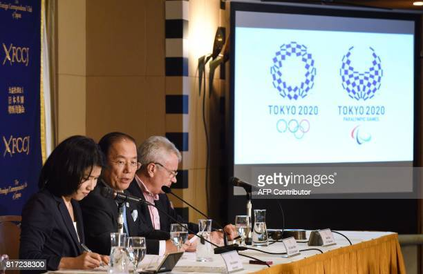 Toshiro Muto Chief Executive Officer of The Tokyo Organising Committee of the Olympic and Paralympic Games delivers a speech during a press...