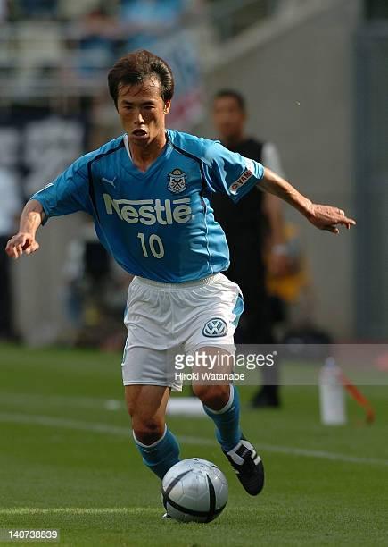 Toshiya Fujita of Jubilo Iwata in action during the JLeague match between Kashima Antlers and Jubilo Iwata at Kashima Stadium on June 19 2004 in...