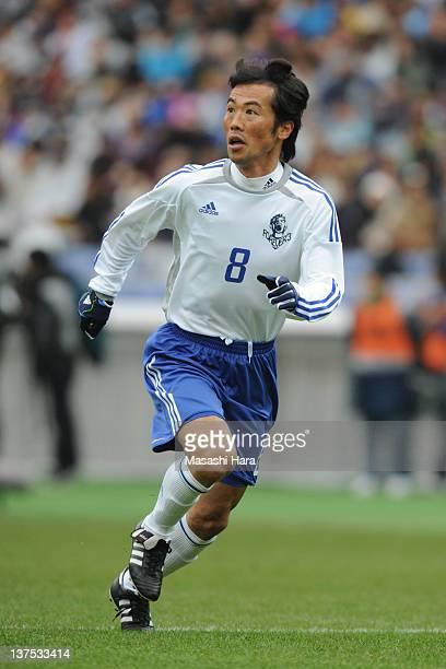 Toshiya Fujita of Naoki Friends in action during Naoki Matsuda Memorial Game at Nissan Stadium on January 22 2012 in Yokohama Japan
